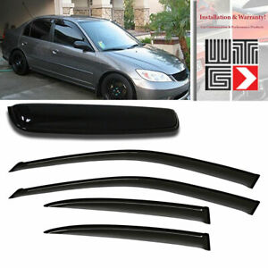 Window Sunroof 5pc Visor Rain Shade Guard 2001 2005 Honda Civic 4 Door Sedan