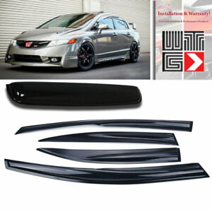 Window Sunroof 5pc Visor Rain Shade Guard 2006 2011 Honda Civic 4 Door Sedan