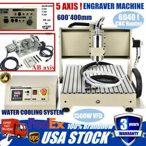 5 Axis 6040 Cnc Router Engraver Engraving Machine Milling Metal Carving 1500w Us