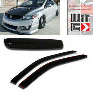 Window Sunroof 3pc Visor Shade Guard For 2006 2011 Honda Civic Coupe 2 Door