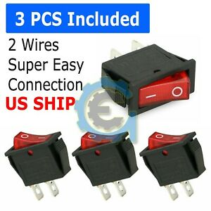 3pcs Car Auto Rocker Switch Spst On Off Toggle 15 Amp 250v 20 Amp 125v 2 Pin