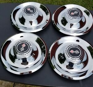 4 Chrome Plated Stainless Steel Black Chevy Rally Wheel Center Caps Cap Covers