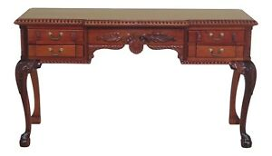 F48333ec Chippendale Style 3 Drawer Solid Mahogany Console Table