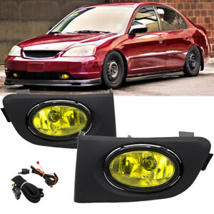 For 01 03 Honda Civic 2 4dr Yellow Lens Bumper Driving Fog Lights Lamps W Switch