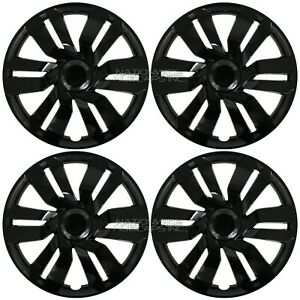 4 For Honda Fit 09 20 Black 15 Snap On Hub Caps Full Wheel Covers Steel Wheels