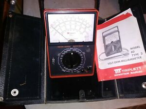 Triplett Model 60 Type 2 Milliammeter Multimeter With Case Manual Estate Find