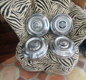 4 Vintage Ford Optional Pickup Truck Stainless Steel Hubcaps F series 1960s 70s