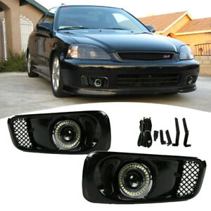 For 1999 2000 Honda Civic Clear Lens Led Halo Projector Fog Lights Lamps Drl