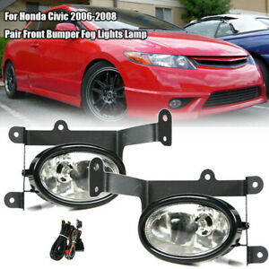 For Honda Civic 2006 2008 Pair Front Bumper Fog Lights Lamp With Switch Wiring