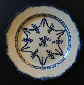 Early Pearlware Blue And White Decorative Pattern Plate 1775 1800