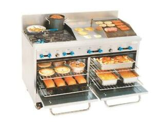 Comstock castle 60 4 burner Gas Range 18 Griddle 18 Charbroiler New