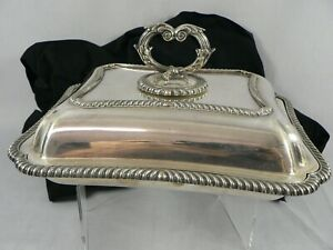 Vintage Silver Entre Casserole Serving Dish Two In One Top Converts To Dish