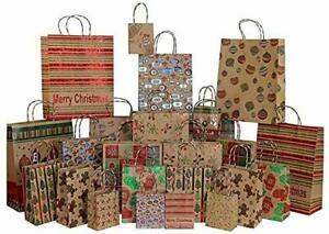 Foil Glitter Kraft Christmas Gift Bags 24 count 6 Xl 6 Large 6 Medium 6 Small