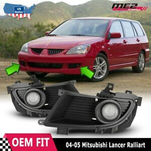 For 04 05 Mitsubishi Lancer Pair Oe Factory Fit Fog Light Bumper Kit Clear Lens