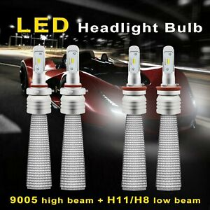 H11 H8 Hb3 9005 Cree Fanless 22000lm Car Led Headlight Hi lo Beam Kit White E
