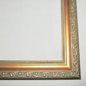 Carved Wood Picture Frame Vintage Wooden Gold Green Organic Shape Dots 10 X 12