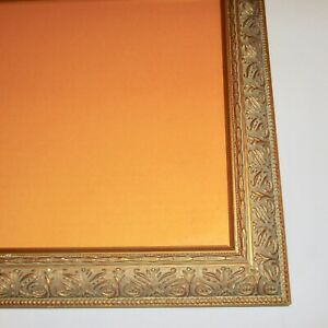 Carved Wood Picture Frame Vintage Wooden Gold Green Organic Curves 12 X 10