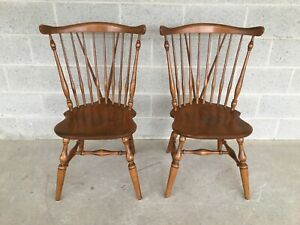 Ethan Allen Windsor Brace Back Nutmeg Dining Side Chairs A Pair 10 6020