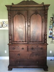 Antique Mahogany Armoire Wardrobe Linen Closet Pullout Drawers Local Pickup Only