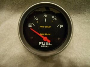 Autometer Pro comp Electrical Fuel Level Gauge 2 5 8 Dia Black Face 5417
