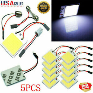 5pcs White 48 Smd Cob Led T10 4w 12v Car Interior Panel Light Dome Lamp Bulb Dn