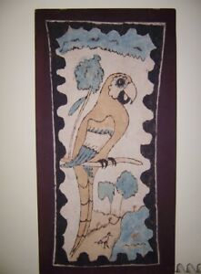 Native Tribal Art Oil Painting On Tree Bark Fiber Cloth Large Parrot And Trees