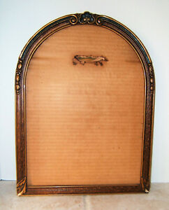 Vintage Arched Curved Gold Gilt Gesso Wood Picture Frame Needs Repair