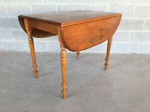 Hitchcock Solid Maple Harvest Paint Decorated Drop Leaf Table