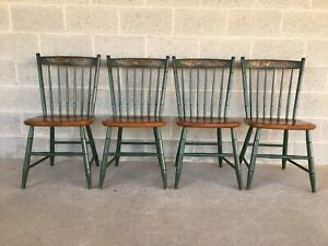 L Hitchcock Classic Country Harvest Green Windsor Side Chairs Set Of 4