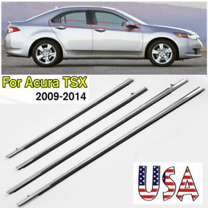Car Outside Window Moulding Weatherstrip Seal Belt For Acura Tsx 2009 2014 4pcs