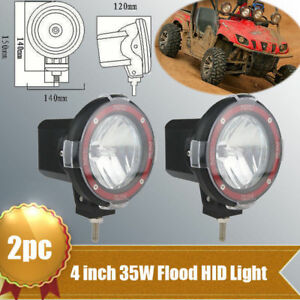 2x 4 35w Round Xenon Hid Work Light Flood 6000k Off Road Atv 4wd Tractor Boat