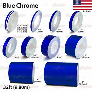 Blue Chrome Roll Vinyl Pinstriping Pin Stripe Car Motorcycle Tape Decal Stickers