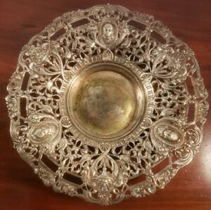 Vintage Fancy Silver Plate Serving Charger Bowl Marked Paca As Pictured