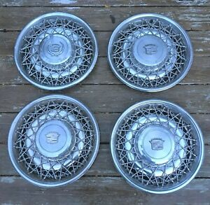 Set Of 4 1975 1984 Cadillac Seville Fleetwood Wire Wheel Hubcaps Caps 1977 1978