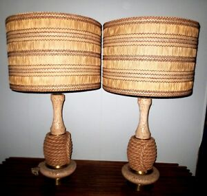 Pair Vintage Midcentury Retro Atomic Table Lamp Orginal Shade