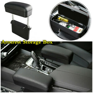 Car Armrest Storage Box Seat Gap Organizer Black Pu Leather Elbow Rest Support