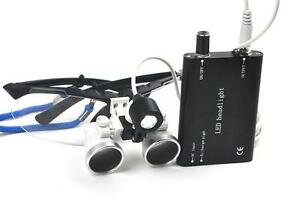 Black Dental Surgical Loupes 3 5x420mm Optical Glass With Led Head Light Lamp Ce
