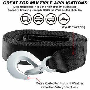 10 000 Lb Capacity 2 X 20 Car Boat Tow Rope Cable Towing Winch Strap With Hook