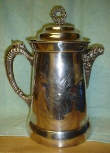 Beautiful Antique Silverplate Ice Water Pitcher