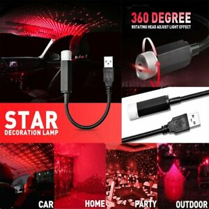 Car Interior Roof Red Led Star Night Light Decor Atmosphere Galaxy Lamp Usb Plug