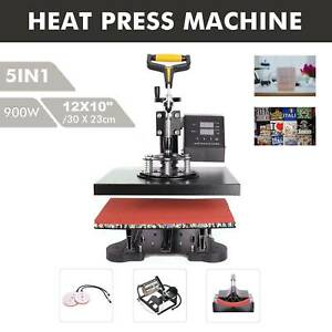 New 5 In 1 Heat Press Machine Swing Away Digital Sublimation T shirt mug plate