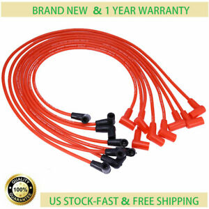 8pcs Red Spark Plug Wires Set For Chevy 265 305 327 350 400 Over Valve Covers
