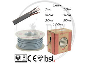 1mm 3 Core Earth Grey Cable Lighting 2 way Switches Basec Approved 624