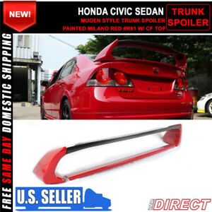 06 11 Civic Mugen Rr Carbon Top Trunk Spoiler Painted Milano Red R81