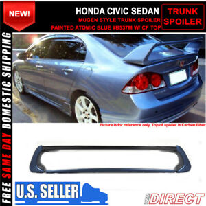 06 11 Civic Mug Rr Style Carbon Top Trunk Spoiler Painted Atomic Blue