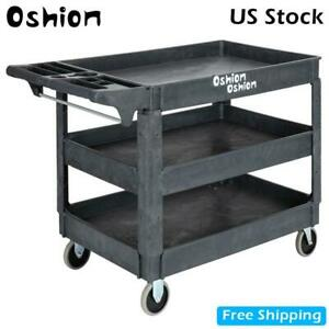 Luxury 3 Shelves Plastic Utility Service Cart Heavy Duty Industrial Handcart New