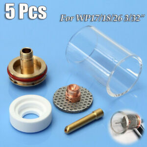 5 Tig Welding Weld Heat Cup Torches 17 18 26 Gas Lens 3 32 Consumables Supply