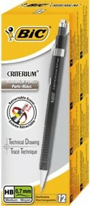 1x Bic Criterium Box 12x Mechanical Pencil Refillable Retractable Ereaser 0 7mm