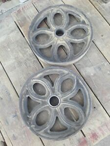 Pair Of Authentic Lineberry Cart Tulip Cast Iron Tulip Wheels Steampunk