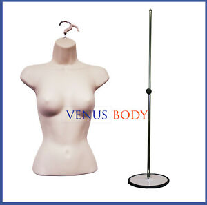 Woman Mannequin Body Dress Form Flesh Hanging Metal Stand